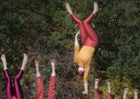 Fem akrobater upp och ner.